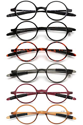VEVESMUNDO Lesebrillen Damen Herren Lesehilfe Sehhilfe Retro Runde Schmal Flexibel Leicht Nerd Brillen mit Stärke 1.0 1.5 2.0 2.5 3.0 3.5 4.0 (6 Stück Set, 1.0)