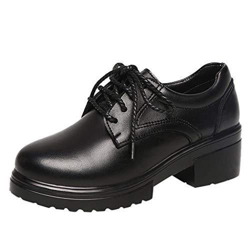 Mocassini Zeppa Donna Oxford Scarpe Tacco a Blocco Vintage Polacchine Square Heel Stivaletti Lace Up Loafers Nero