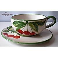 Tazza + Piatto Linea Ciliegie Realizzata e dipinta a mano Le Ceramiche del Castello Made in Italy dimensioni 16,5 x 7 centimetri