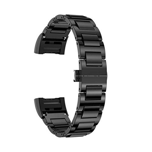 Preisvergleich Produktbild Sansee Keramik Edelstahl Keramik Schmetterling Verschluss Strap Ersatz Armband für Fitbit Charge 2 (Schwarz)