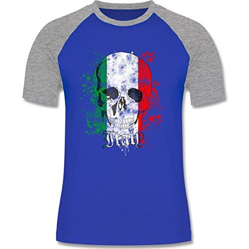 EM 2016 - Frankreich - Italy Schädel Vintage - zweifarbiges Baseballshirt für Männer Royalblau/Grau meliert