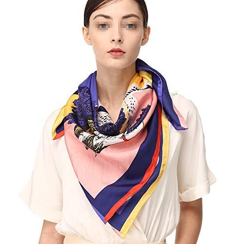 Kuingbhn Halstuch Frau Seidenschal Square Schals Satin Bandana Damen Haar Schal Halstuch Wraps 35,4 x 35,4 Zoll (Color : A, Size : 90 * 90CM) - Klimaanlage Color-glanz