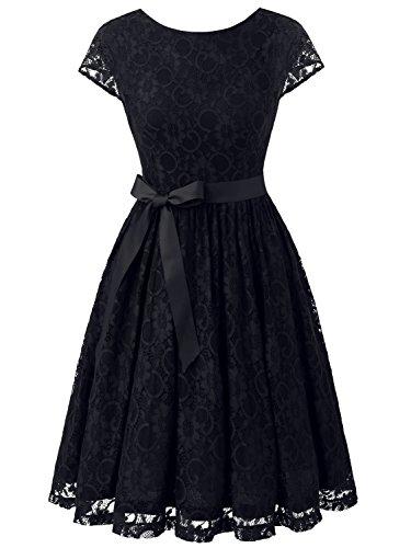 IVNIS RS90033 Damen Vintage Spitzen V Rücken Kurze Brautjungfern Party Kleid Abschlussballkleider...