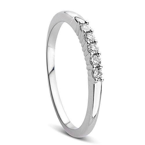 Orovi Damen-Ring Memoire HochzeitsringWeißgold 9 Karat (375) Diamant 0.10 carat Verlobungsring Diamantring (Weißgold Damen Ring Diamant)