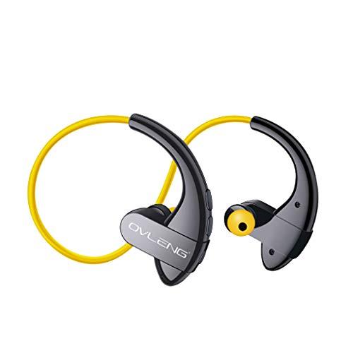 Bluetooth Kopfhörer wasserdicht drahtlos Sport Kopfhörer HiFi Sweatproof (Gelb)