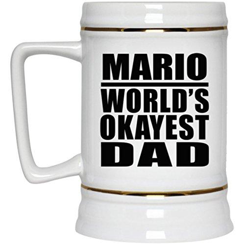 Mario Worlds Okayest Dad - Beer Stein Chope De Bière Chope En Céramique Mug Pour Bar - Cadeau pour Anniversaire Fête des Mères Fête des Pères Pâques