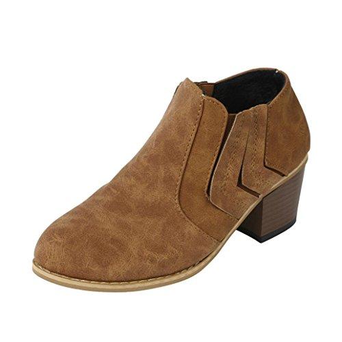 Stiefel Damen Kolylong® Frauen Elegant Stiefeletten mit Absatz Vintage Martin Stiefel Warm Stiefel Kurz Mädchen Freizeit Schuhe High Heel Ankle Boots (37, Gelb)