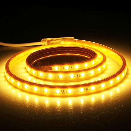 Preisvergleich Produktbild Zuhause AC 220V,  144 LEDs SMD 5730 Gehäuse IP65 Wasserdichte LED-Lichtleiste mit Netzstecker,  72 LED / m,  Länge: 2m wunderschönen (Großauswahl : 1m / 28.8w warm White)