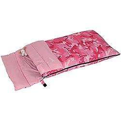 Bertoni Bimbo Junior 150 Saco de Dormir Infantil para Acampada o Casa, Camuflaje Rosa, Tamaño Único