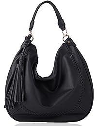 Eva & Evan® Elegante Damen Schultertasche Umhängetasche Handtasche für Frauen aus PU Leder Umhängetasche 44 x 9 x 35cm