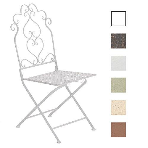 CLP Eisen-Stuhl ANABEL, Metall Klappstuhl, Design nostalgisch antik Antik Weiß Eisen Stuhl