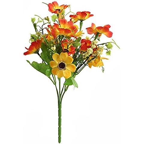 YSBER 5Bouquet Fiori di ciliegio Fiori Artificiali seta Bouquet Partito Decorazione Ufficio Casa Giardino Piante in vaso per San Valentino, compleanno, Natale Gif Orange - Anemone Bouquet Da Sposa