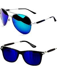 Younky UV Protection Aviator Mercury Unisex Sunglasses with 2 Cases(M21_AvstkBM-Bluestick|55mm|Blue) - Combo Pack