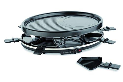 grossag Raclettegrill RC8 für 8 Personen Antihaftbeschichtete, ovale Grillplatte Stufenlos einstellbarer 1400 Watt