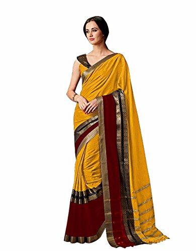 Indian Beauty Cotton Silk Saree (CHARMI-GOLD_Gold_Free Size)
