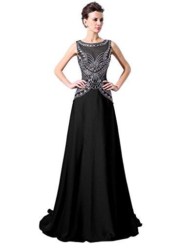 Sarahbridal Damen Lang A-Linie Rundhals Abendkleider Paillette Glanz Stein Ballkleid SLX038 Schwarz