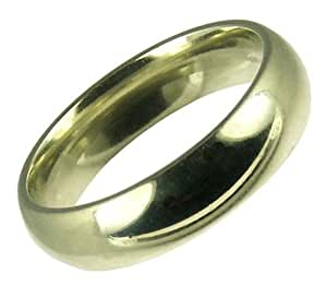 Mens Wedding Ring, 9 Carat White Gold, Medium Court Shape, 5mm Band Width