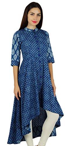 Bimba Frauen Asymmetrische Blau Kurta Designer Kurti Mandarinekragen Blockdruck Schicke Mode Kleid -