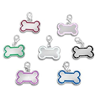 Luxury Engraved Gifts UK Personalised engraved Bone shaped pet ID tag with gift pouch - ref BR229