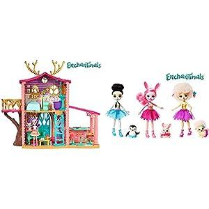 Enchantimals Supercasa del Bosque y muñeca Danessa, casa de muñecas (Mattel FRH50) + Tripack muñecas con Mascotas y Accesorios de Ballet (Mattel FRH85)
