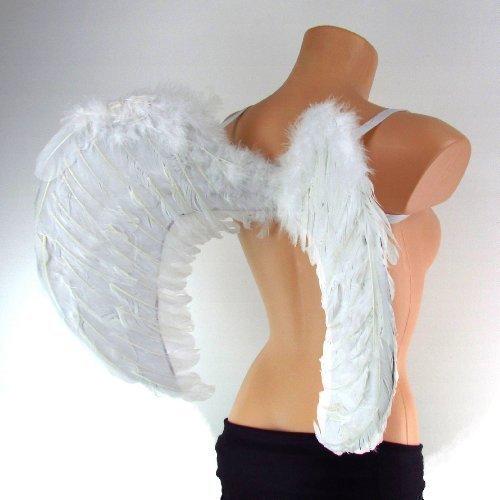 (Engelsflügel in schwarz, weiss oder rosa 60 x 50 cm Karnevalskostüm (weiss))