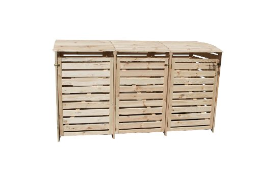 *Mülltonnenhaus für drei 240 Liter Tonnen in Holz natur*