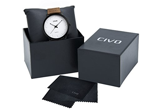 CIVO-Mens-Brown-Leather-Band-Analogue-Quartz-Wrist-Watch-Mens-30M-Waterproof-Luxury-Classic-Business-Casual-Simple-Design-White-Dial-Fashion-Wristwatch-Unique-Scratch-Resistant-Dress-Watches-for-Men