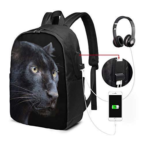 Mochila Unisex con Puerto de Carga USB Wild Black Panther Classic Fashion General Business Bookbag