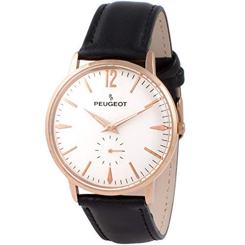 Peugeot Men's Vintage Rose Gold Retro Business Watch, Analog with Remote Sweep Second Hand and Black Strap