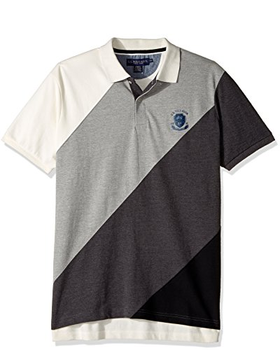 U.S. Polo Assn. Herren Slim Fit Striped Short Sleeve Pique Polo Shirt Polo Hemd - Grau - (Fit Polo Shirt Slim Striped)
