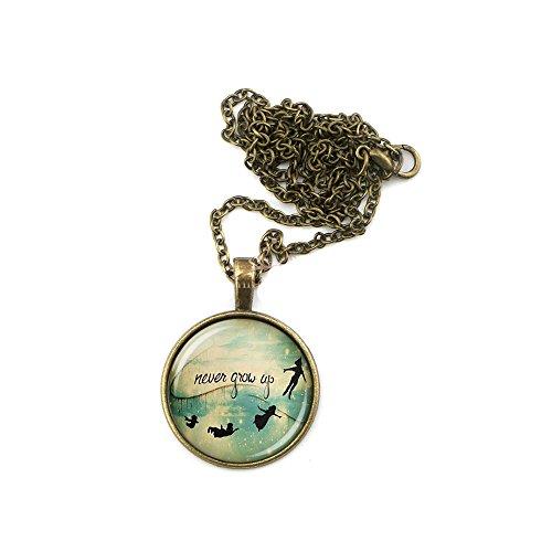 CARINGA - Collana con pendente Peter Pan Never grow Up Trilly colore bronzo fatina Tinkerbell Wandy - Non crescere mai