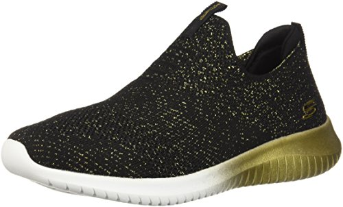 Skechers Sport Women's Women's Ultra Flex-Metamorphic Sneaker, Black/Gold, 11 B(M) US