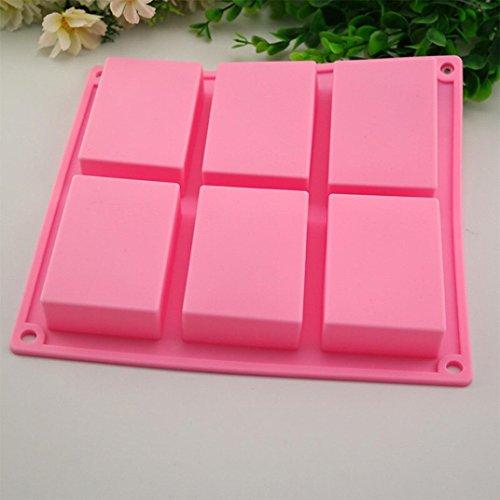 FNKDOR 1 Stück 6 Hohlraum Rechteckig Silikon Backformen Seifenform für Hausgemachte Fertigkeit DIY