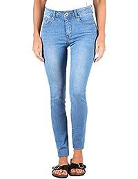 KRISP® Femmes Jeans Skinny Taille Haute Délavé Casual