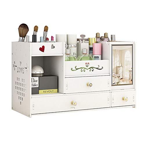 NanBao Make-up Cosmetic Storage Organizer Schublade-3 Box Schubladen Arbeitsplatte Eitelkeit Veranstalter, Pinsel Lippenstift Halter ausgezeichnete Anzeige für Schmuck-Paletten Box,White