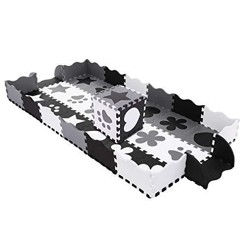3c168adf18 Buyi-World Tappeto Puzzle 40 Pezzi Tappetini Bambini da Pavimento con  Recinto, Tappetino Lavabile