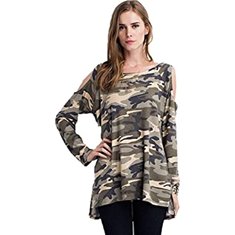 Oyedens Blusas Manera De Las Mujeres De La Blusa De Manga Larga Camuflaje De La Camiseta Ocasional