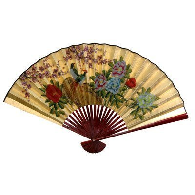 Oriental Furniture Good Graduation Gift Idea, 20-Inch Chinese Decorative Wall Fan, Gold Leaf with Birds and Peonies, Small by Oriental Furniture
