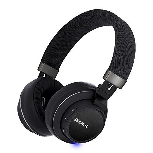SOUL Electronics- IMPACT OE kabellose Over-Ear Kopfhörer mit Bluetooth 4.0, Musikerlebnis bis zu 14 Stunden (Leichtgewicht, Dynamisch, Ergonomisch), Schwarz (Soul Electronics Wireless)