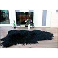 Meryno Icelandic Sheepskin Rug Amazing Soft Wool - Black, x large