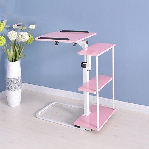 PENGFEI Laptop Betttablett Tragbare Stehen Bett Sofa Tisch Multifunktion Höhenverstellbar Bücherregal Rolle Lager, 4 Farben 67,5 X 40 X 70 cm (Farbe : Pink) (Bücherregal-bett Lager-und)