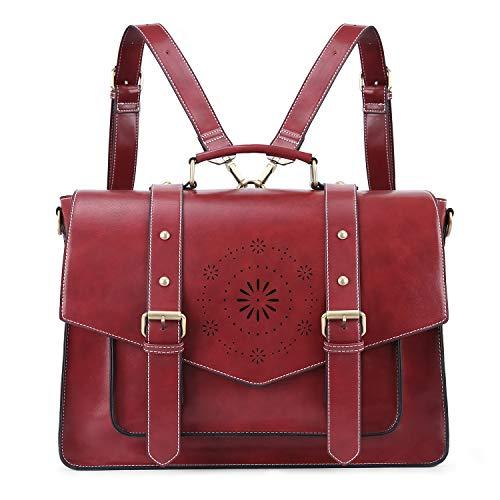 ECOSUSI Borsa Tracolla Donna Borsa Messenger Donna per Laptop 15.6'' Borsa Vintage per Lavoro Rosso