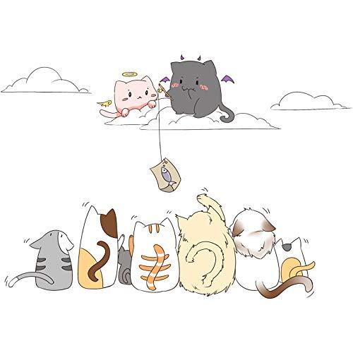 GYUHANLT Kreative Katze Wohnzimmer Kinderzimmer Nachttisch Anordnung  Cartoon DIY Kreative Wandaufkleber Mode Wandtattoos Umweltschutz Wandbild  Dekoration ...