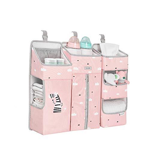 Sunveno Windel Lagerung für Kinderzimmer Babybett Lagerung Windeln hängenden Korb Wickeltisch-Organizer für Windeln und Wickelzubehör Baby-Windel-Organizer mit Herausnehmbaren Trennwänden (Rosa)