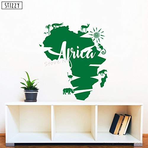 zhuziji Adesivo Murale Africa Mappa Animale Adesivo murale in Vinile Creativo Interni Moderni Rimovibile Decorazioni per la casa Adesivo Cameretta per Bambini Un Verde 42x47cm