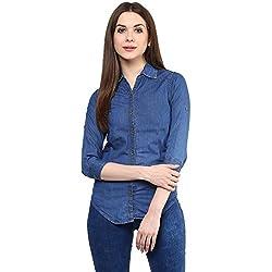 Mayra Women's Denim Shirt (1608T11593_M, Blue )