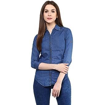 Mayra Women's Denim Shirt (M1608T11593_S, Blue )