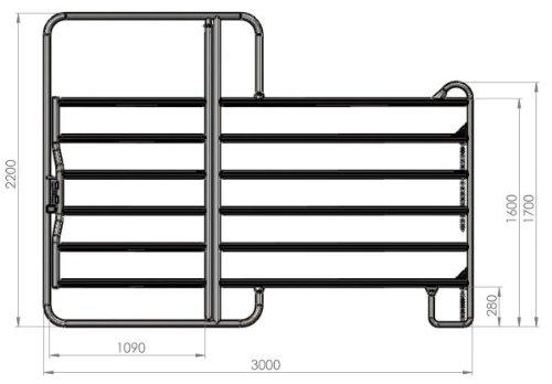 Kerbl Panel - Zaunelement 3,6 m mit Tor (inklusive Kettenverschluss)