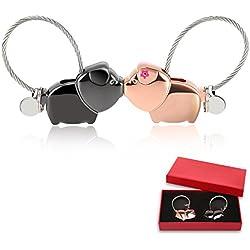 Foonii 1 par Parejas Llaveros, magnética Desmontable Auto Llaveros, Besar Llaveros de Elefantes Cerdo, para Parejas Mujer Hombre (Negra + Oro Rosa)
