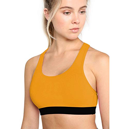 CHKOKKO Sports, Gym, Running Racer Back Non Wired Padded Sports Bra for Women Mustard
